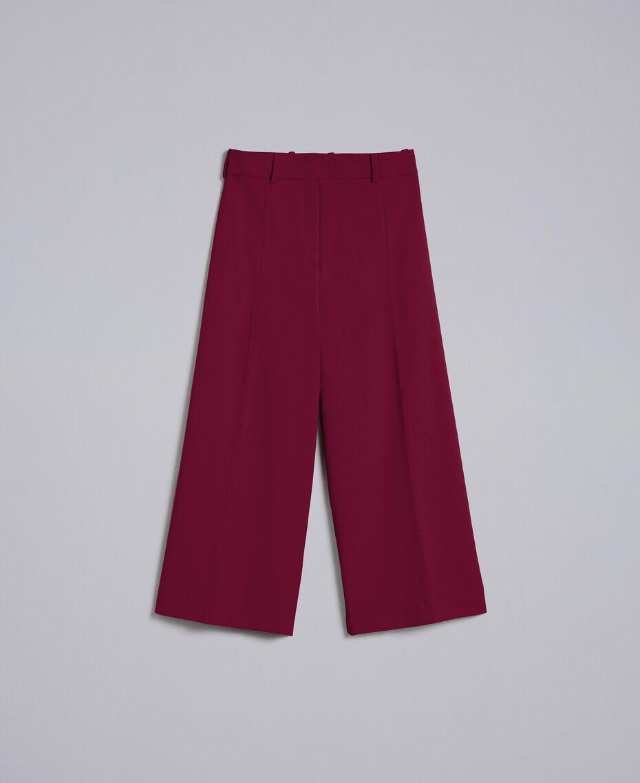 Cropped-Hose aus Cool Wool Bordeaux Frau PA823N-0S