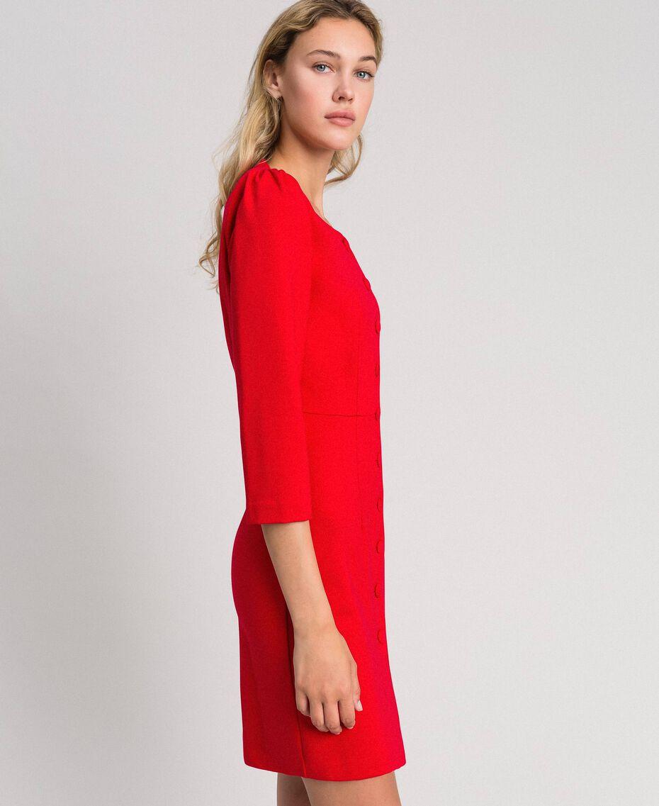Robe fourreau avec boutons recouverts Rouge Coquelicot Femme 192MP2179-02