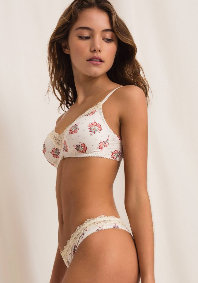Triangle bra with print
