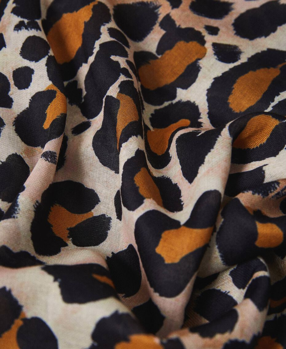 Fular con animal print y encaje Estampado Animal print Mujer 202LL4FTT-02