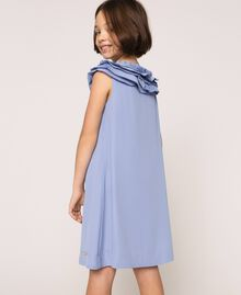 "Georgette dress with pleated ruffles ""Ice"" Dark Blue Child 201GJ2QE0-03"