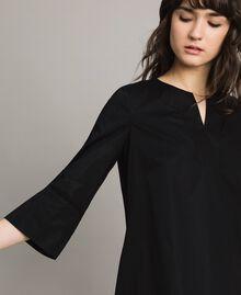 Poplin dress with embroidery Black Woman 191TT2242-04