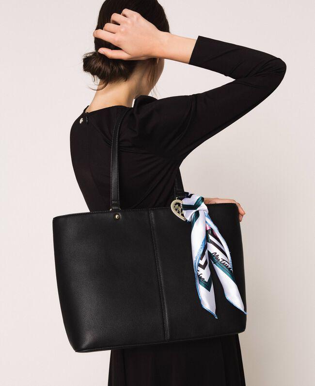 Сумка-шоппер из искусственной кожи с платком Черный женщина 201MA7080-0T
