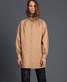 Long poplin shirt with gatherings White Woman 192ST2071-01