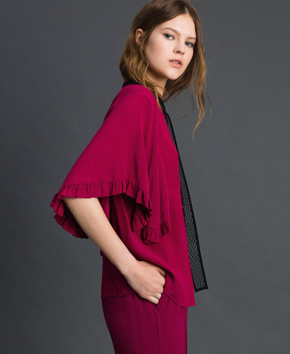 Рубашка из смесового шелкового крепдешина Красная Свекла женщина 192TP2260-02