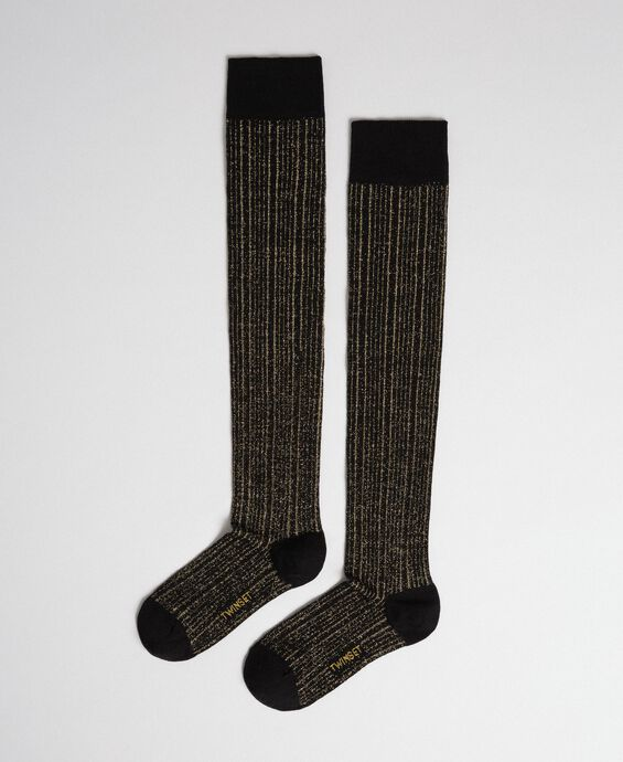 Ribbed lurex above the knee stockings