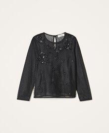 Bluse aus Tüll mit Stickereien Schwarz Kind 202GJ2611-0S