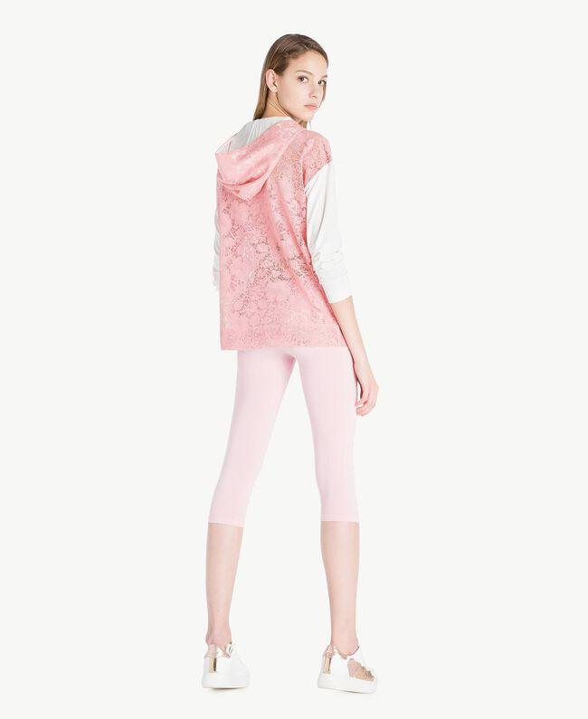Sweatshirt aus Spitze Zweifarbig Pinkie / Optisches Weiß Frau LS89AA-04