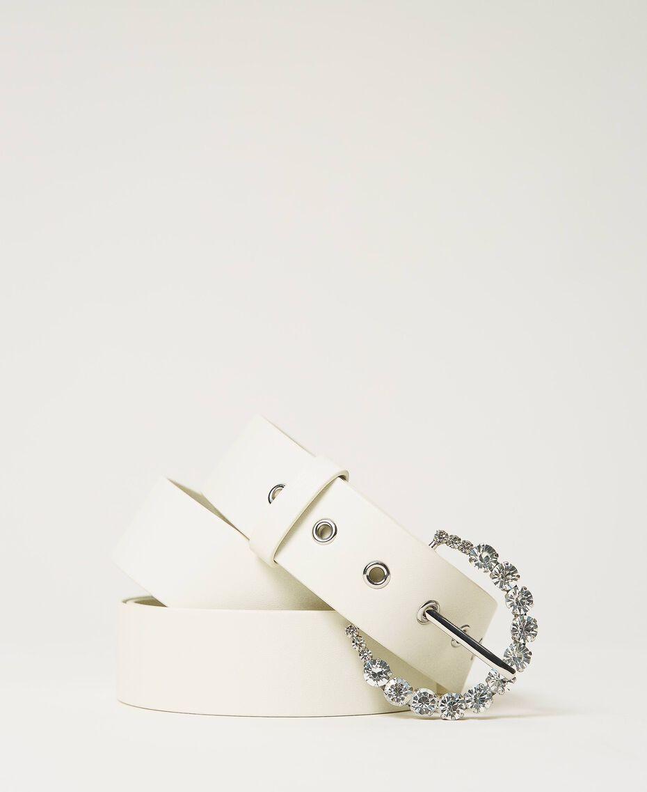 Zweireihiger Gürtel mit Strass Weiß Vanille Frau 211MO5300-01