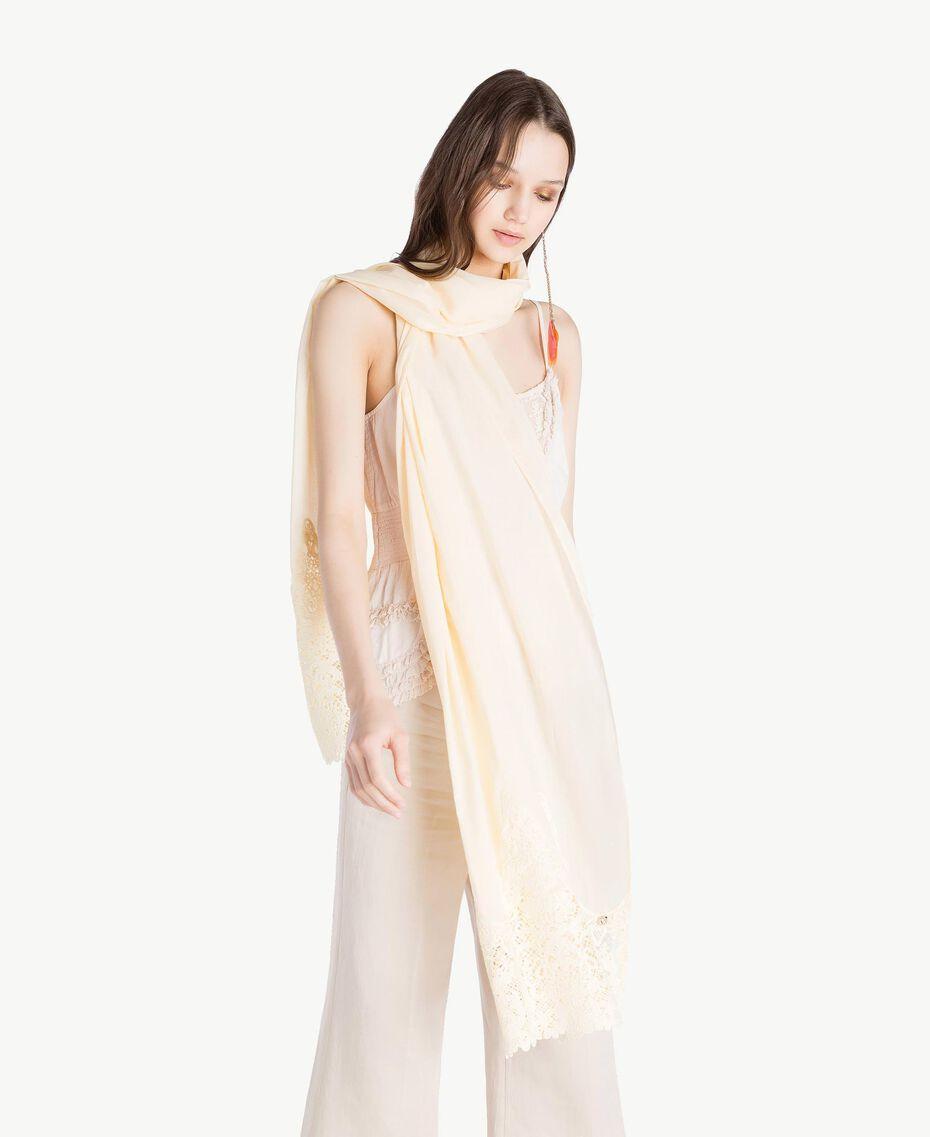 Macramé lace scarf Ivory Woman OS8T27-05
