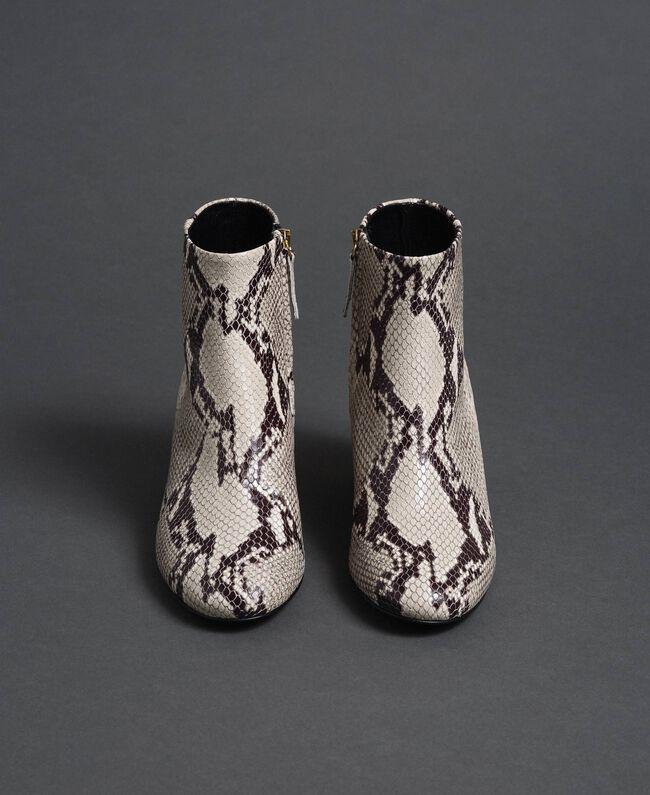 Bottines en cuir avec imprimé animalier Imprimé Python Roche Femme 192TCT012-04