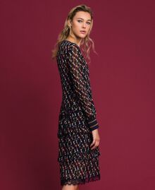 Printed georgette dress with frills Fox Geometric Print Woman 192ST2152-02