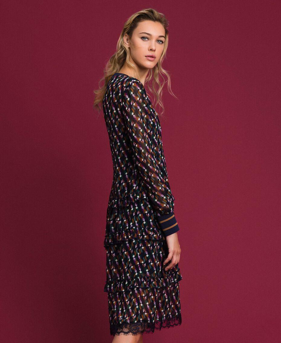 Robe volantée en crêpe georgette imprimé Imprimé Géométrique Renard Femme 192ST2152-02