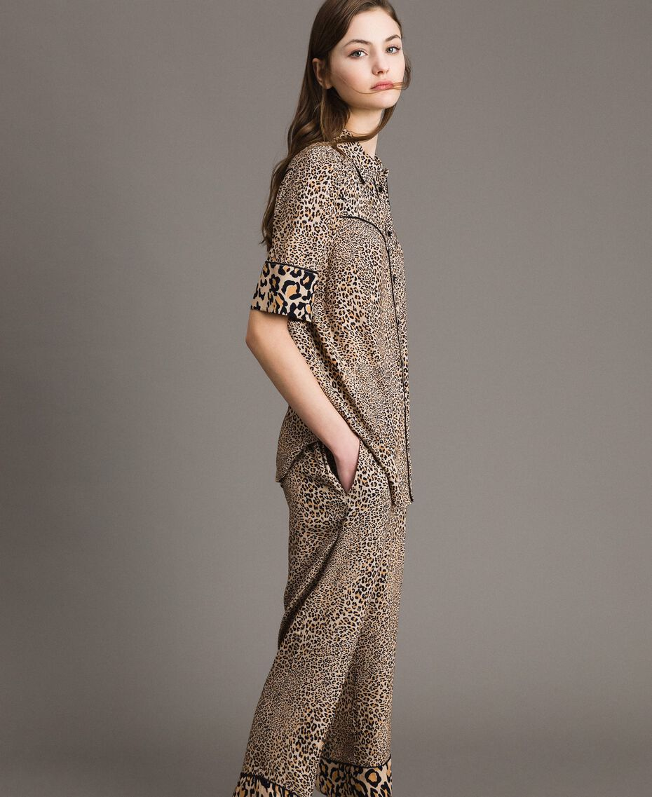 Animal print crêpe shirt Mixed Animal Print Woman 191TP2701-02
