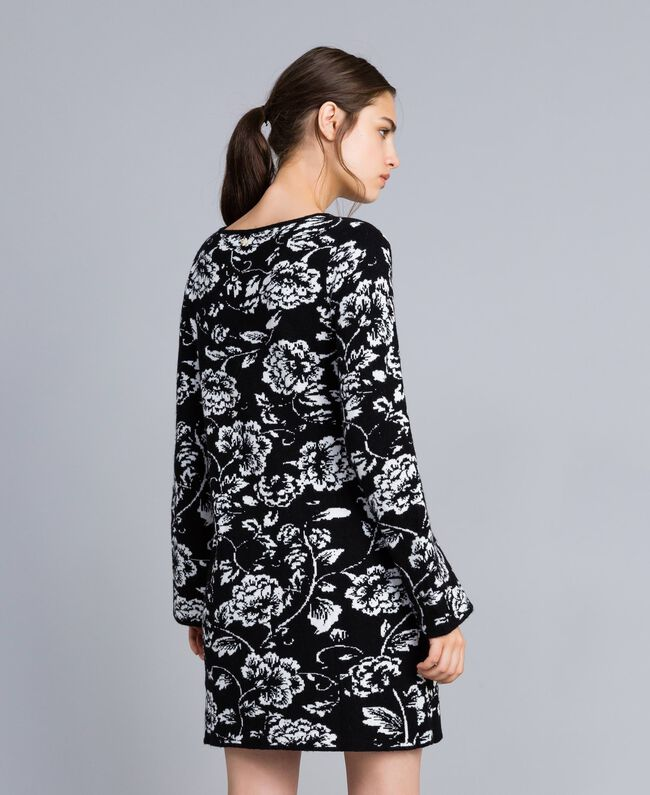 Jacquard knitted floral print dress Black Flower Jacquard Woman SA83EC-03