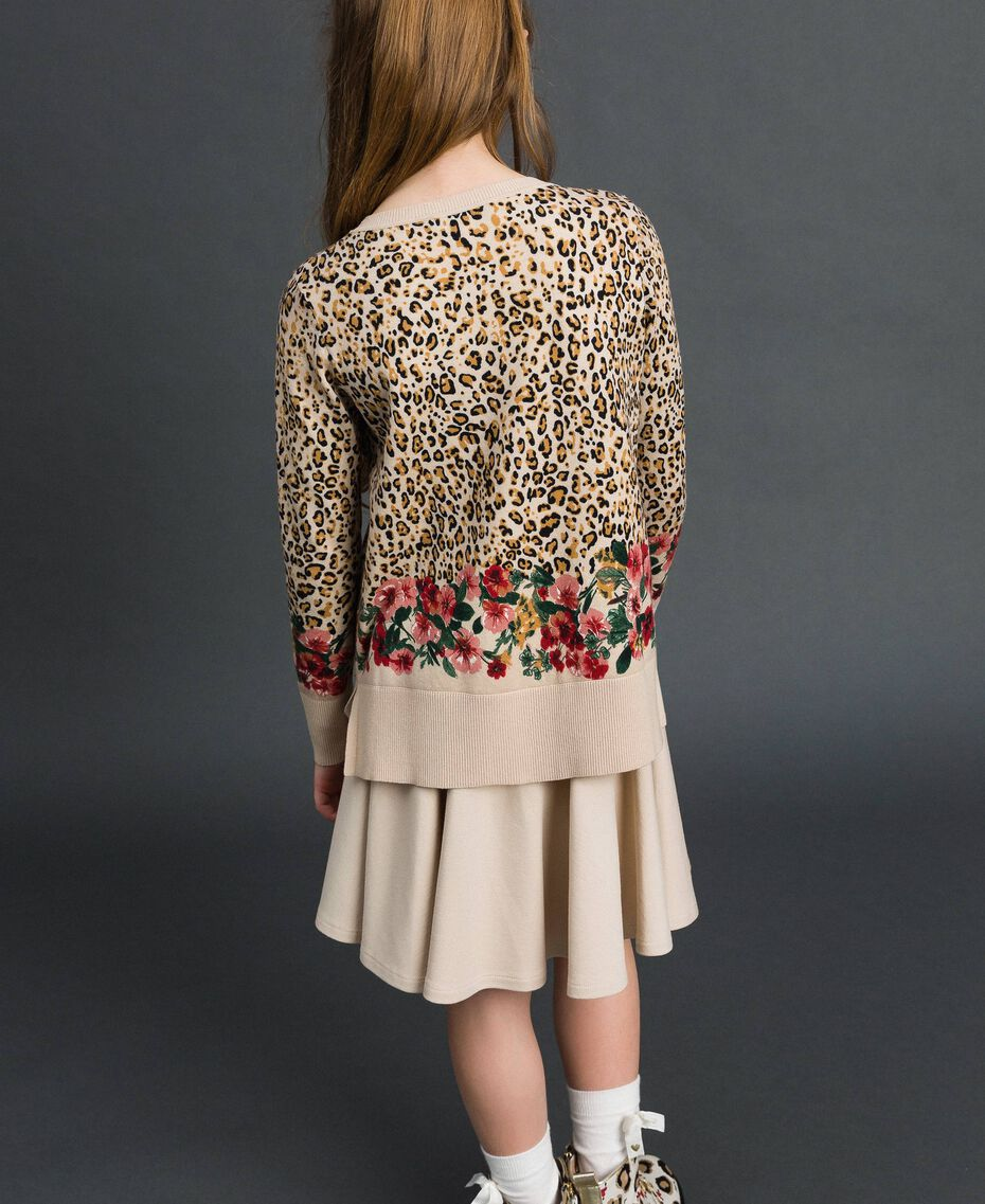 Floral and animal print jumper Leopard Print / Floral Child 192GJ3181-03