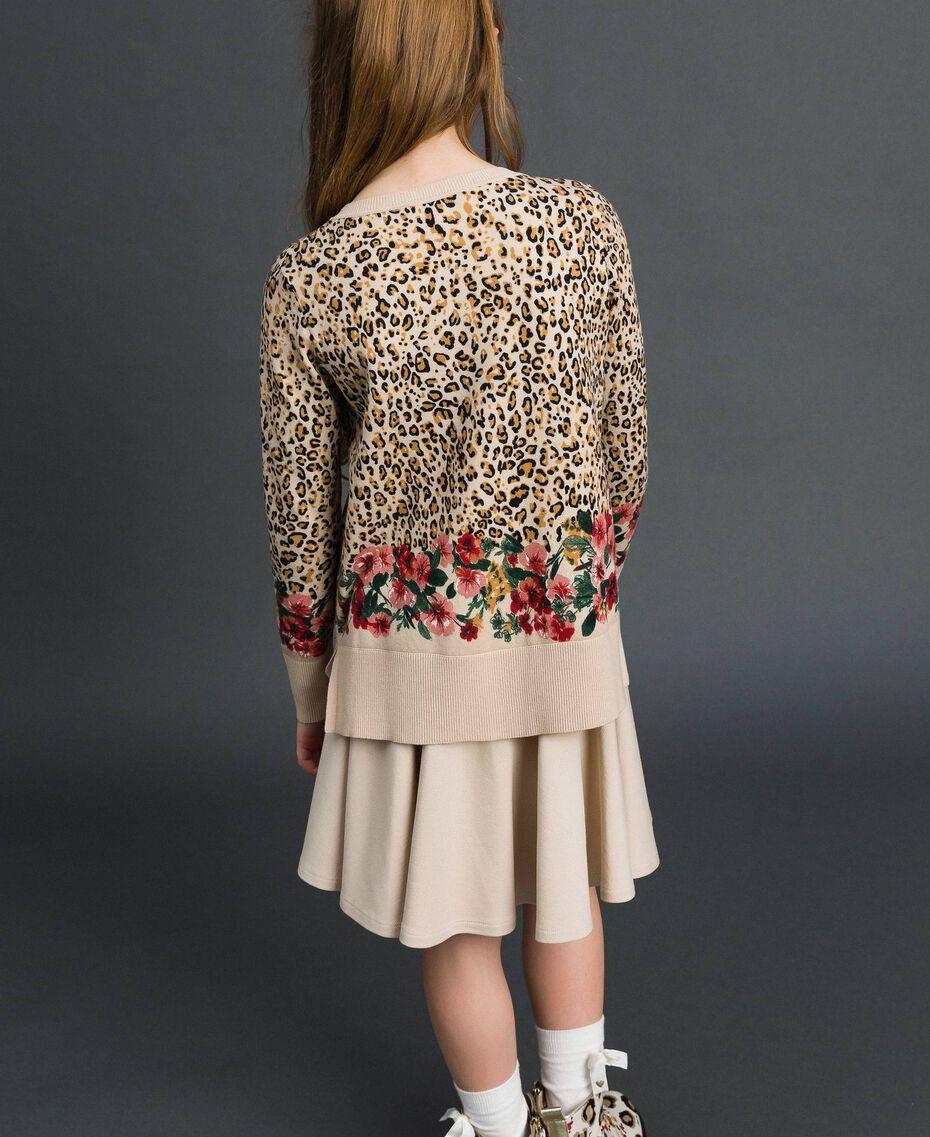 Pullover mit Blumen-Animal-Print Print Leopard / Blumen Kind 192GJ3181-03