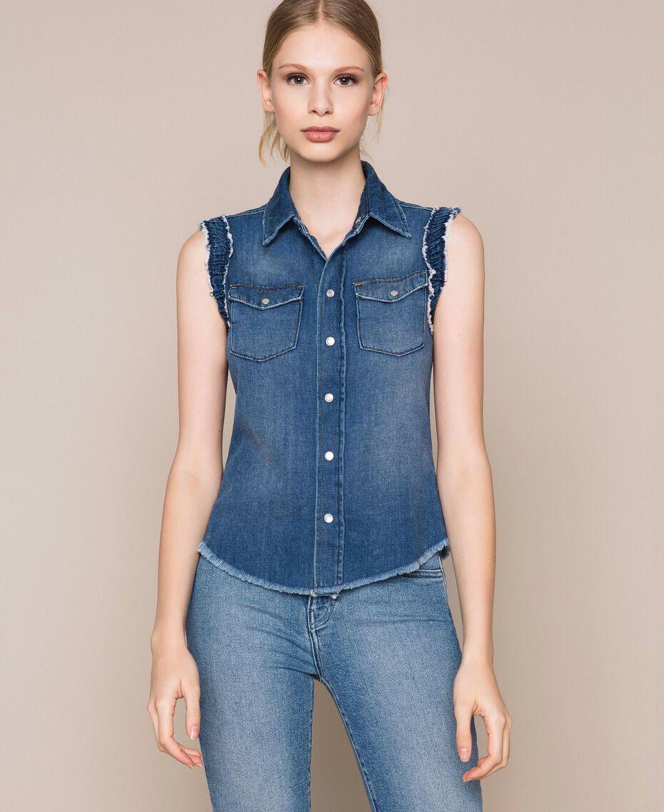 Raw cut denim shirt Denim Blue Woman 201MT2348-01