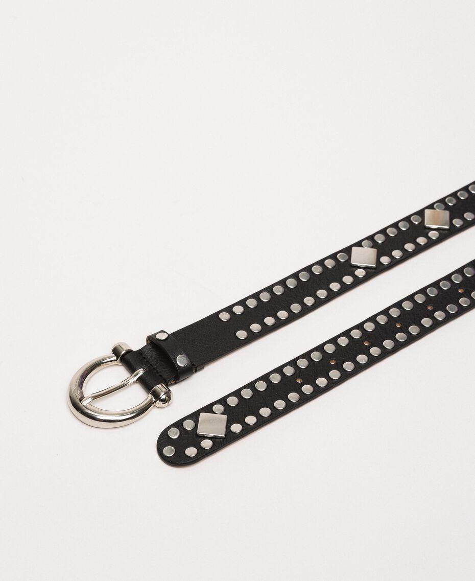 Кожаный ремень с заклепками Черный женщина 201TO5341-02