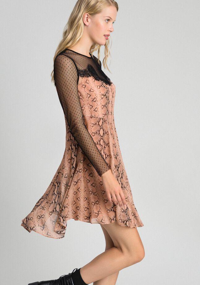 Платье из жоржета с животным принтом