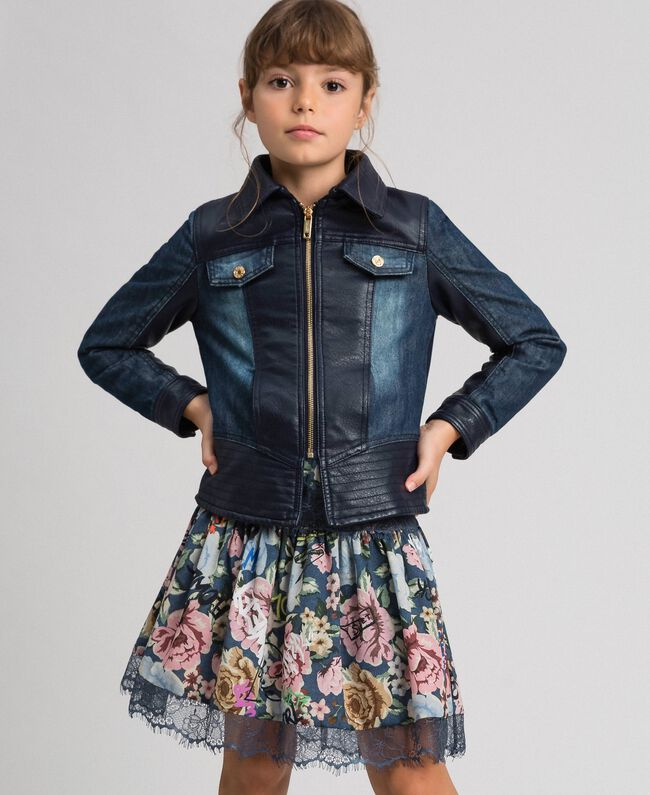 Giacca in jeans e similpelle Blue Night Bambina 192GJ2050-01