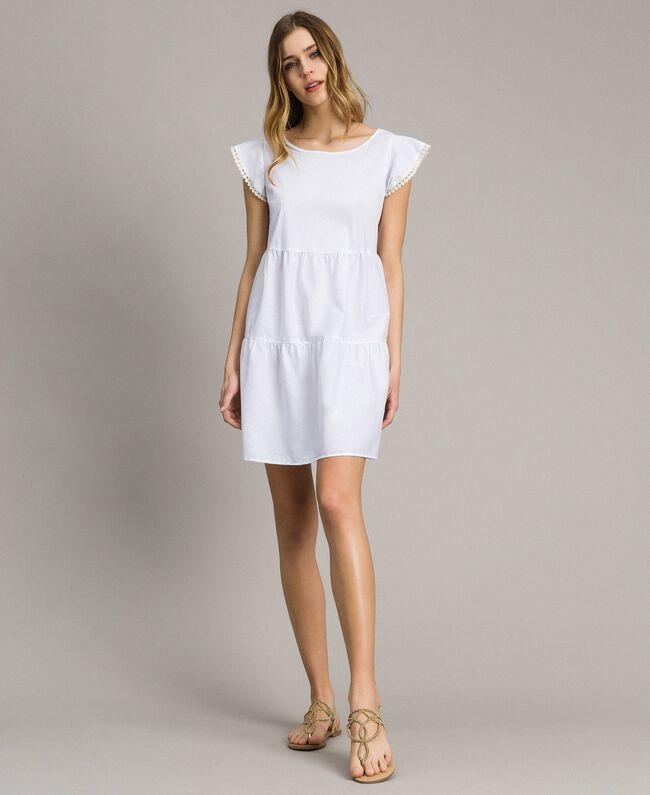 Poplin dress White Woman 191LB2JFF-01