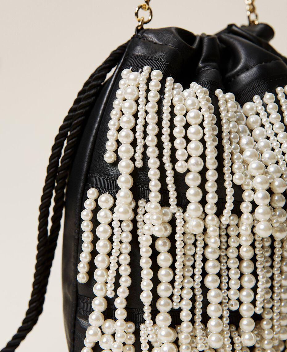 Sac modèle sacchetto avec franges de perles Noir Femme 212TB7300-03