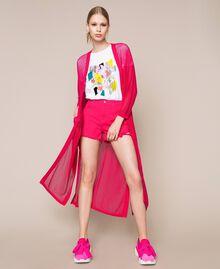 Maxi cardigan en maille filet Rose Sauvage Femme 201MT3011-0T