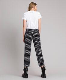 Pantalons cigarette à pois Bicolore Noir / Blanc Femme 191MP2362-03