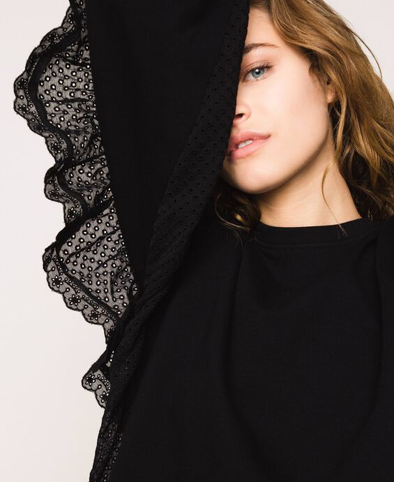 Sweatshirt with broderie anglaise inlay and ruffle