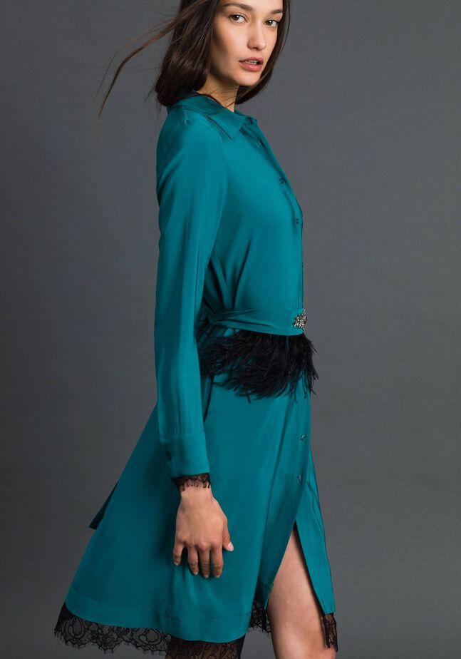 Hemdblusenkleid aus Georgette mit Gürtel