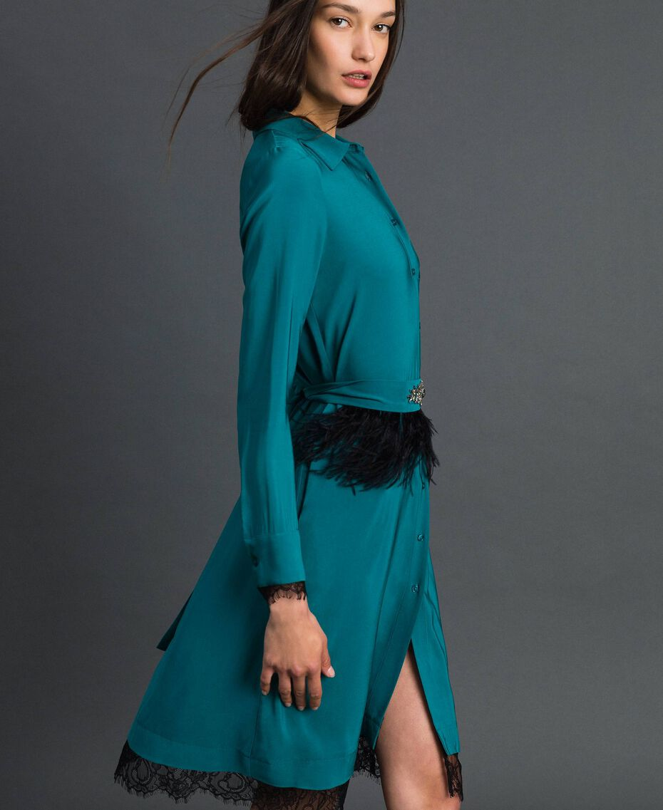 Georgette shirt dress with belt Mineral Green Pale Blue Woman 192TP2113-01