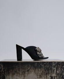 Mules en cuir velours avec nœud Noir Femme CA8PP3-01