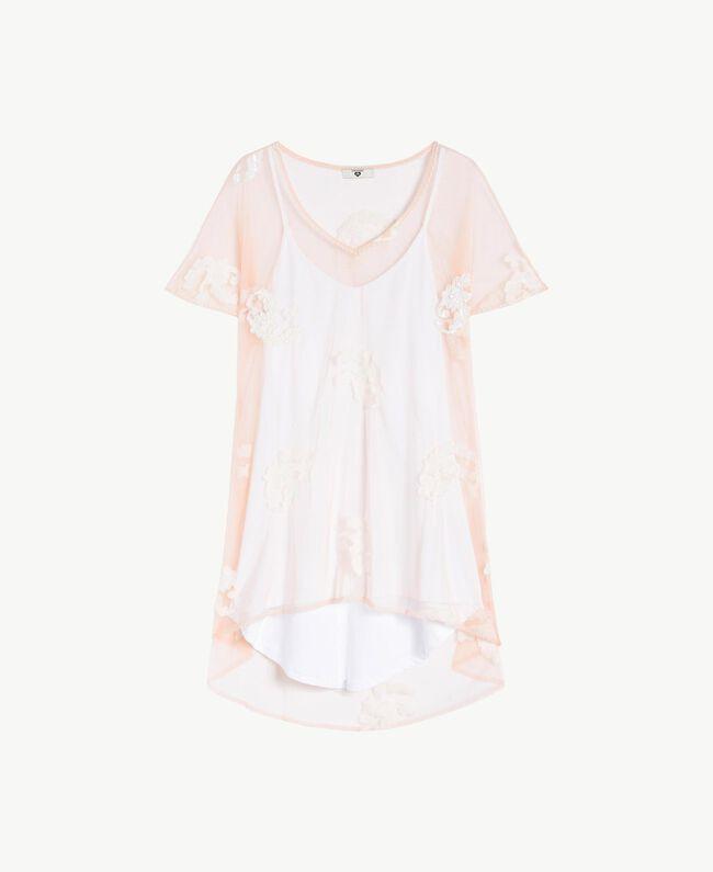 Kleid mit Stickerei Elfenbein Frau MS8BHH-01