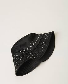 Satin hat with studs and bezels Black Woman 202TA4451-02