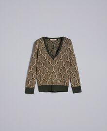 Pull en laine mélangée et lurex jacquard Jacquard Vert Forêt Or Lurex Femme TA8323-0S