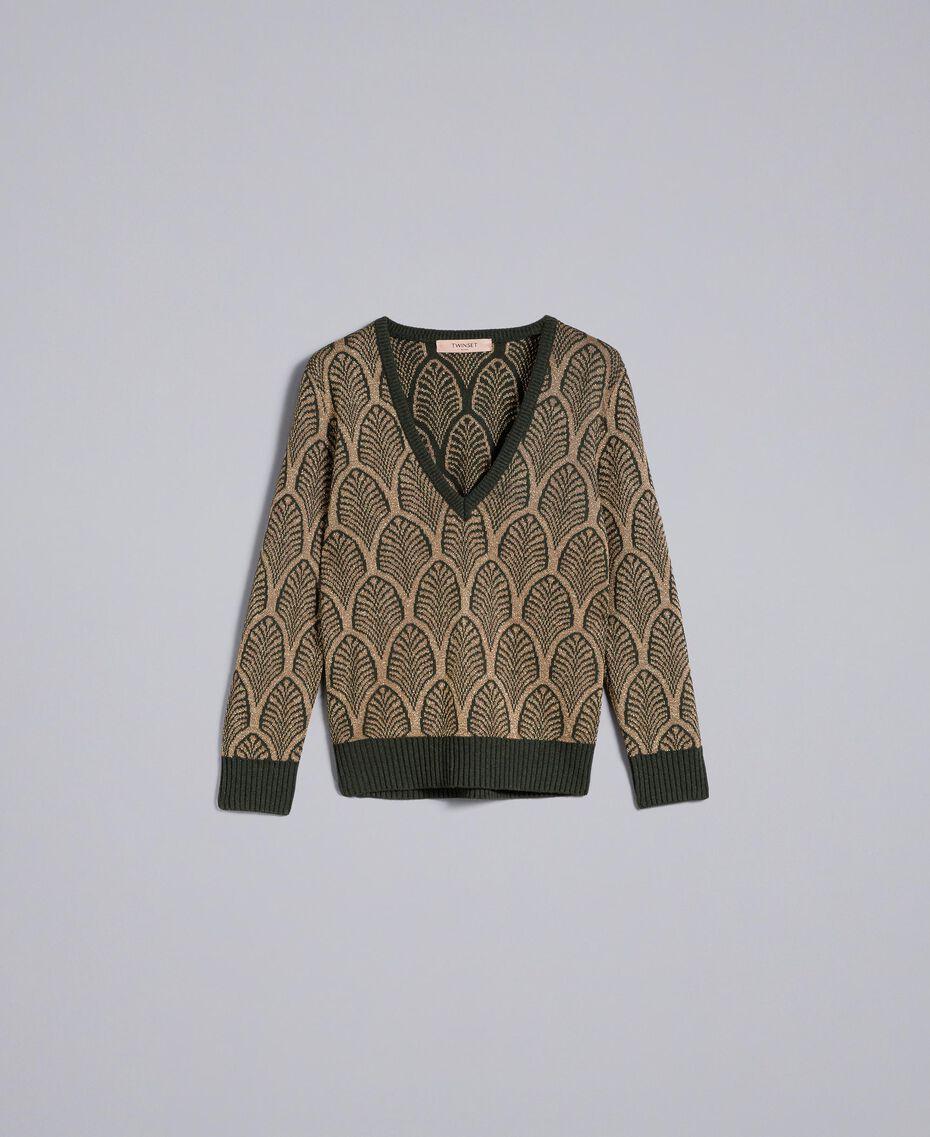 Pullover aus Wollmischung und Lurex in Jacquardverarbeitung Jacquard Waldgrün / Goldlurex Frau TA8323-0S