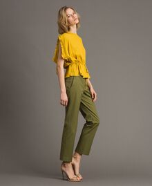 "Poplin drainpipe trousers ""Olive"" Green Woman 191TT2231-02"