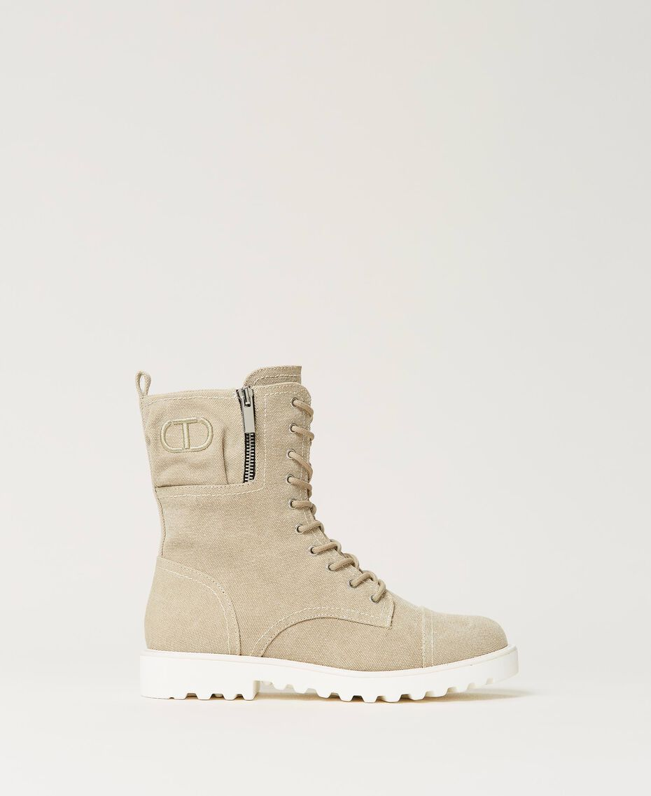 Canvas combat boots with logo Incense Beige Woman 211TCT070-03
