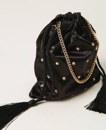 Атласная сумка со стразами Черный женщина 211TD8221-02