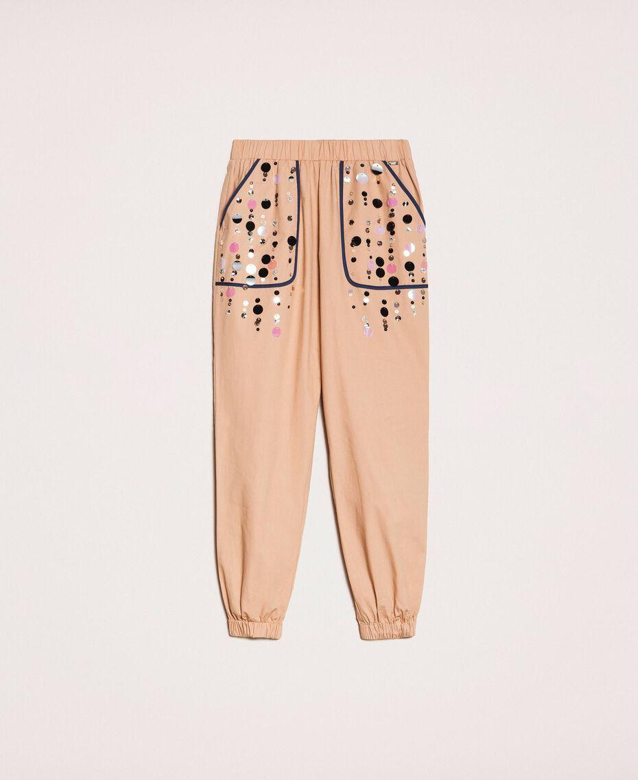 Поплиновые брюки-джоггеры с вышивкой Зеленый Вяз женщина 201ST2026-0S