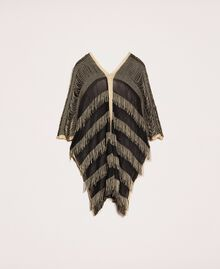 Lurex knit poncho with fringes Two-tone Gold / Black Woman 201LB49FF-0S