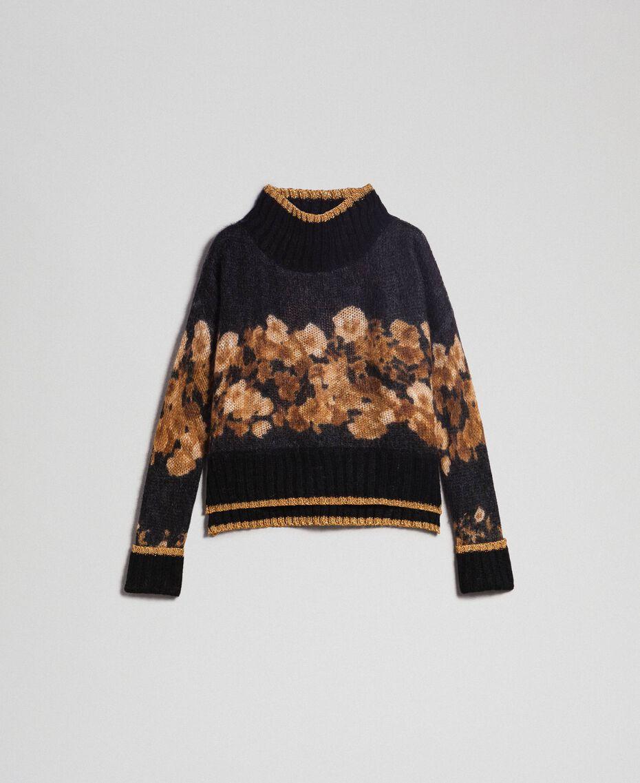 Pull en mohair imprimé Imprimé Mélange Rayures Fleur Baroque Caraïbes Femme 192TT3332-0S