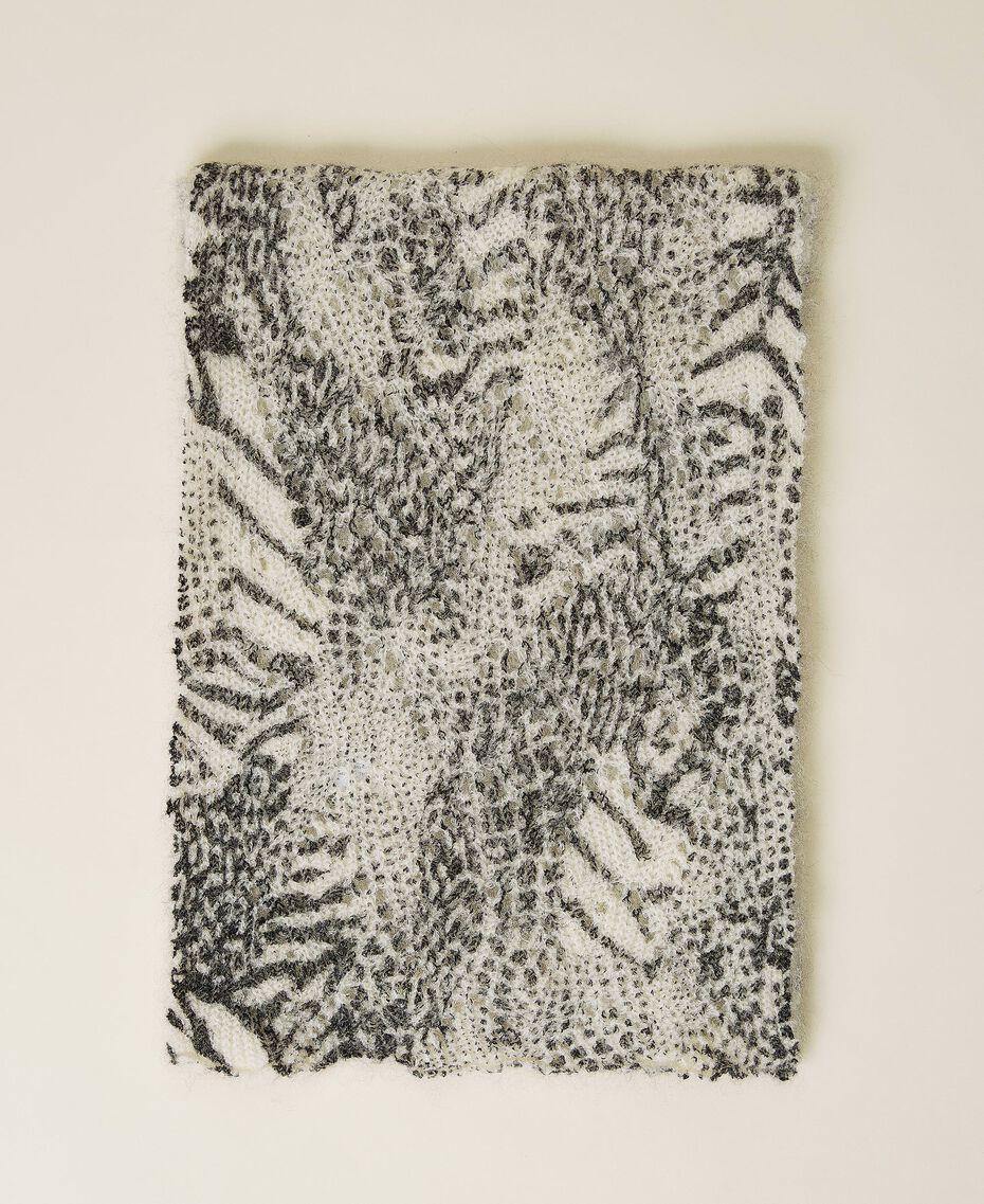 Strickschal mit Lochmuster und Animaldessin Animalprint-Patchwork Schnee / Schwarz Frau 212TA405C-01