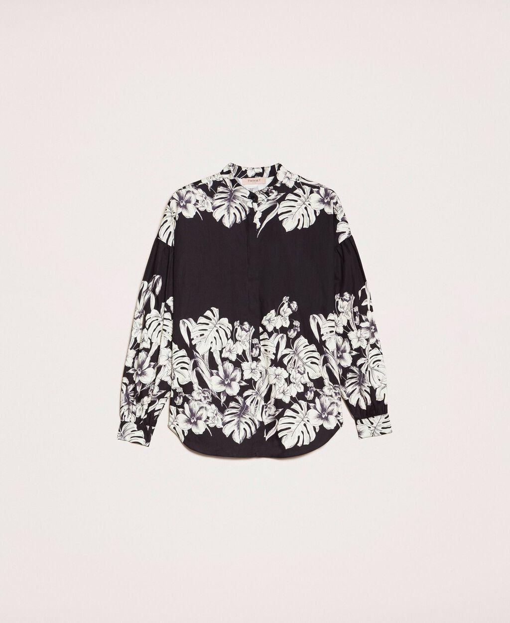 Camicia in popeline a fiori