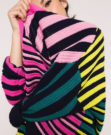 Maxi cardigan with multicolour stripes Multicolour Woman 201ST3100-04