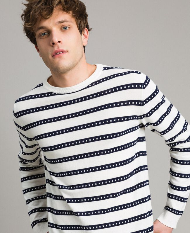 "Crêpe cotton striped jumper Two-tone Opaque White / ""Blackout"" Blue Man 191UT3031-01"