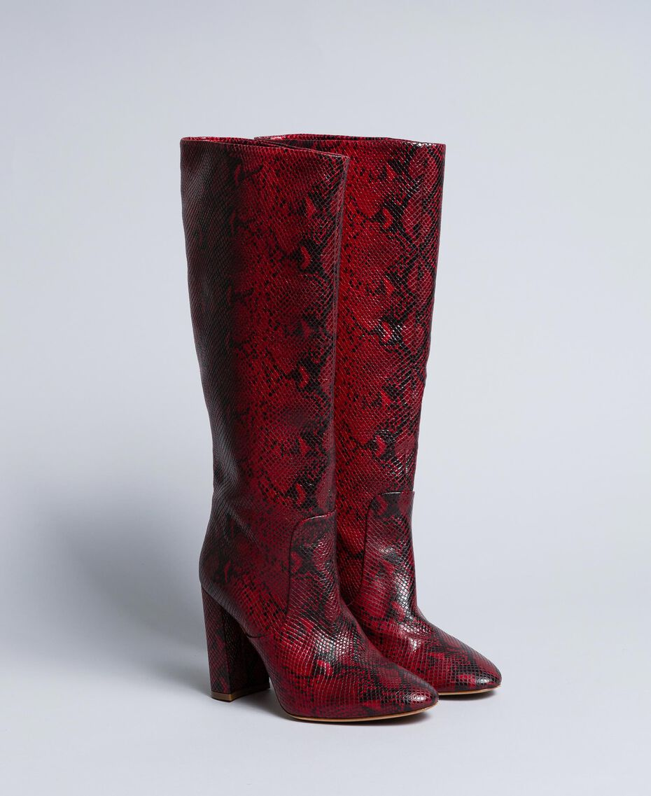Leather high boots Burgundy Python Woman CA8PLJ-02