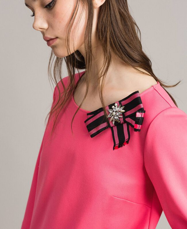 Bow shaped brooch dress Pink Camellia Woman 191MP2154-04