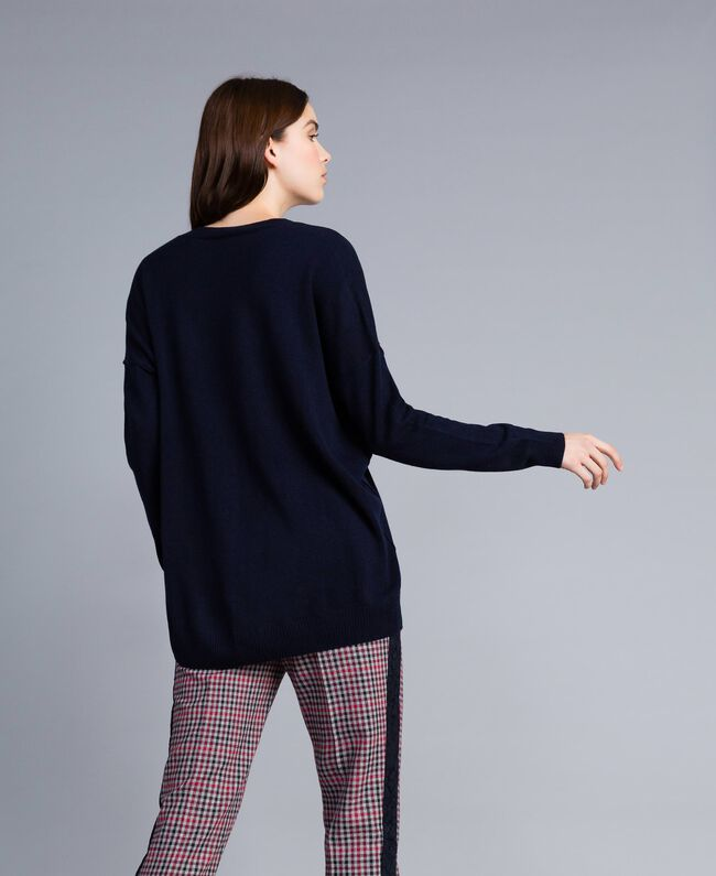 Wool and cashmere long jumper Night Blue Woman TA83AE-03